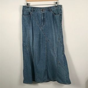 Vintage Jean Skirt Modest Boho Hippie Long Maxi 14